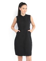 Tokyo Talkies Black Linen Tailored Dress