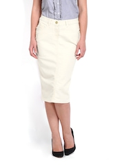 Tokyo Talkies Off-White Pencil Skirt