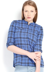 Tokyo Talkies Women Blue & Black Checked Top