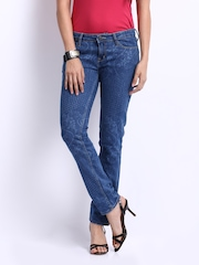 Tokyo Talkies Women Blue Printed Veronica Slim Fit Jeans