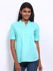 Tokyo Talkies Women Light Blue Top