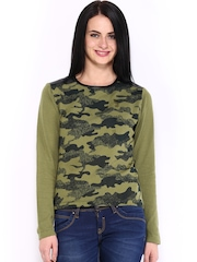 Tokyo Talkies Women Olive Green Printed Sweater
