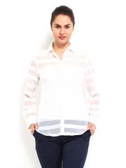 Tokyo Talkies Women White Striped Top
