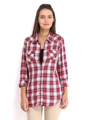 Tokyo Talkies Women White & Red Checked Shirt