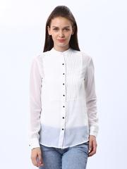Tokyo Talkies Women White Sheer Shirt