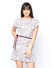 Tokyo Talkies White Warli Print Shift Dress