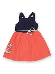 Tommy Hilfiger Girls Navy & Coral Red Fit & Flare Dress