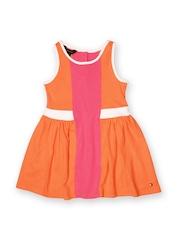 Tommy Hilfiger Girls Orange & Pink Fit & Flare Dress