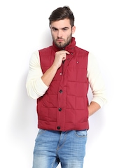Tommy Hilfiger Men Coral Red Bas Vest Down Padded Sleeveless Jacket