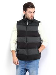Tommy Hilfiger Men Charcoal Grey Elbridge Striped Quilted Vest Down Padded Sleeveless Jacket