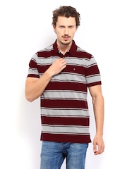 Men Maroon & Grey Striped Cheshire Polo T-shirt Tommy Hilfiger