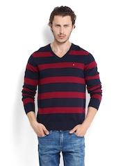 Tommy Hilfiger Men Navy & Maroon Striped Sweater