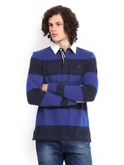 Tommy Hilfiger Men Blue Rugby Striped Polo T-shirt