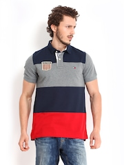 Tommy Hilfiger Men Grey & Navy Helmsley Polo T-shirt