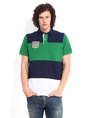 Tommy Hilfiger Men Green & Navy Helmsley Polo T-shirt