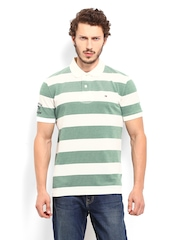 Tommy Hilfiger Men Off-White & Green Striped Mark Polo T-shirt