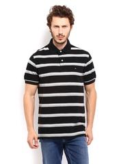 Tommy Hilfiger Men Black & Grey Striped Polo T-shirt