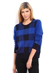 Tommy Hilfiger Women Blue & Black Wool Blend Sweater