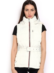 Tommy Hilfiger Women White Sleeveless Padded Virginia Down Jacket