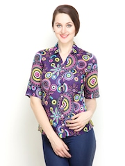 Women Purple Printed Slim Fit Shirt Tops And Tunics