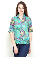 Women Teal Green Printed Slim Fit Shirt Tops And Tunics