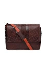 Tortoise Men Dark Brown Leather Laptop Bag