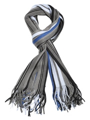 Tossido Unisex Grey & Black Striped Muffler