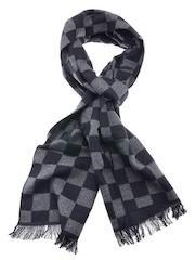 Tossido Unisex Black & Grey Checked Muffler