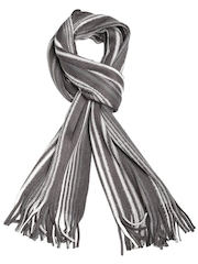 Tossido Unisex Grey Striped Muffler