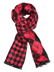 Tossido Unisex Red & Black Checked Reversible Muffler