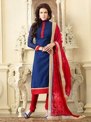 Touch Trends Blue & Red Chanderi Silk Unstitched Dress Material