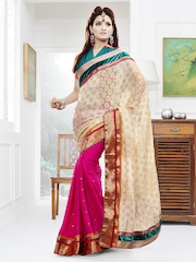 Touch Trends Off-White & Pink Jacquard Partywear Saree
