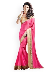 Touch Trends Pink Embroidered Georgette Partywear Saree