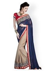 Touch Trends Blue & Beige Georgette Fashion Saree