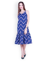 Trend 18 Blue Printed A-line Dress
