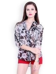 Trend 18 Women Black & White Printed Shirt