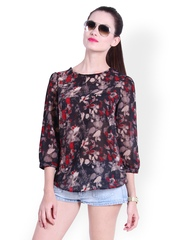 Trend 18 Women Multicoloured Sheer Printed Top