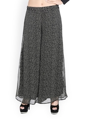 Trend Arrest Women Black Printed Palazzo Trousers