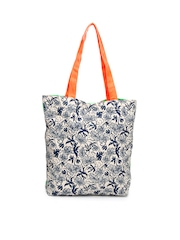 Be For Bag Women Green & Off-White Printed Tote Bag