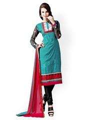 Triveni Blue & Black Printed Unstitched Dress Material