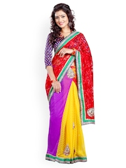 Multicoloured Embroidered Net One Minute Saree Triveni