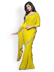 Triveni Yellow Embroidered Chiffon Partywear Saree