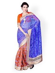 Blue & Orange Net & Brasso Partywear Saree Triveni