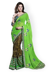 Green & Brown Chiffon Printed Saree Triveni