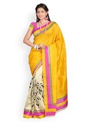 Triveni Yellow & Off-White Silk Printed Saree
