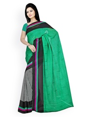 Triveni Green & Black Georgette Printed Saree