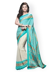 Triveni Blue & Off-White Crepe Printed Saree