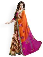 Triveni Multicoloured Striped Chiffon Printed Saree