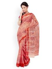 Brown Cotton Printed Saree Triveni