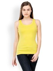 TshirtCompany Women Yellow Slim Fit Tank Top